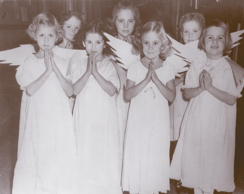 Vintage photo of Middle School Girls in angel costumes