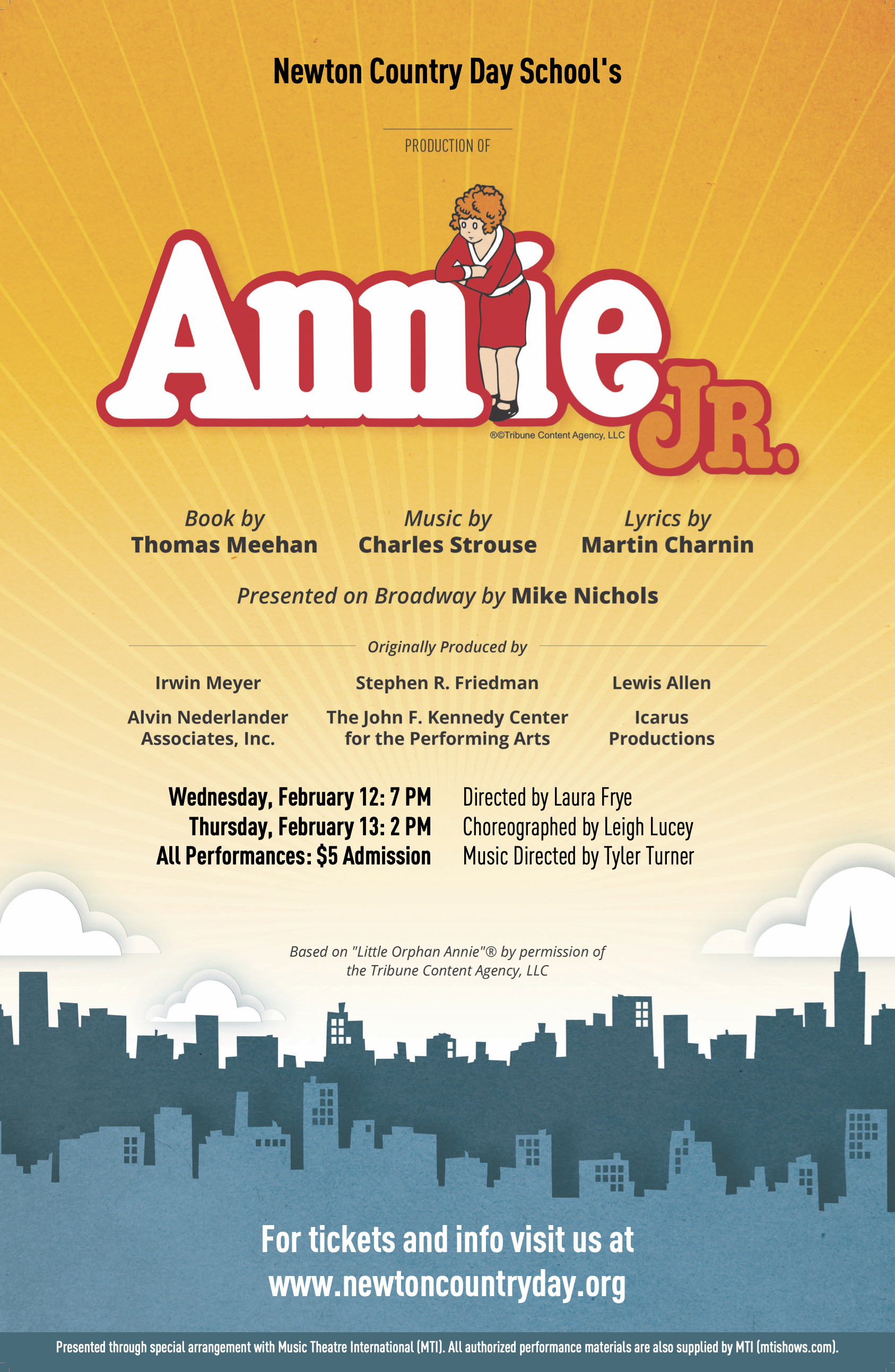 The Middle School Presents Annie, Jr.: February 12 & 13