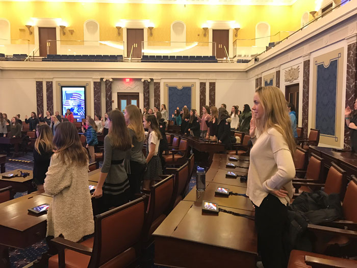 Middle and Upper School Girls Become Senators for the Day